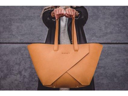 Kožená kabelka shopper