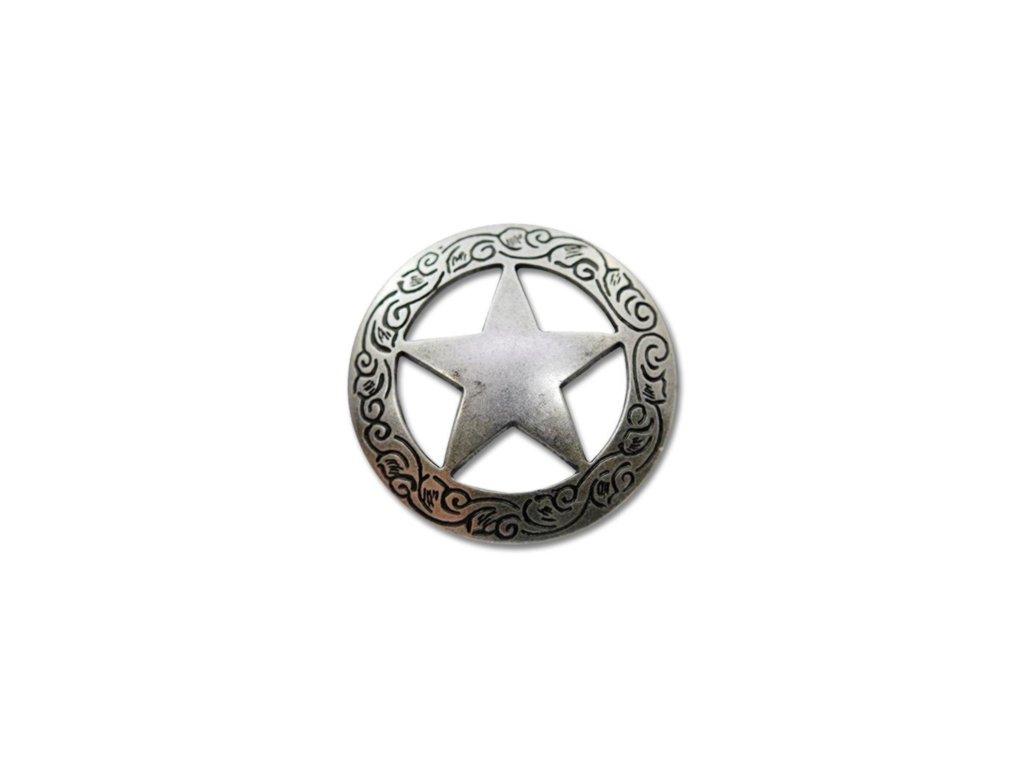 """Končo Texas star - Postříbřené (Velikost 1-3/16"""" (30 mm))"""