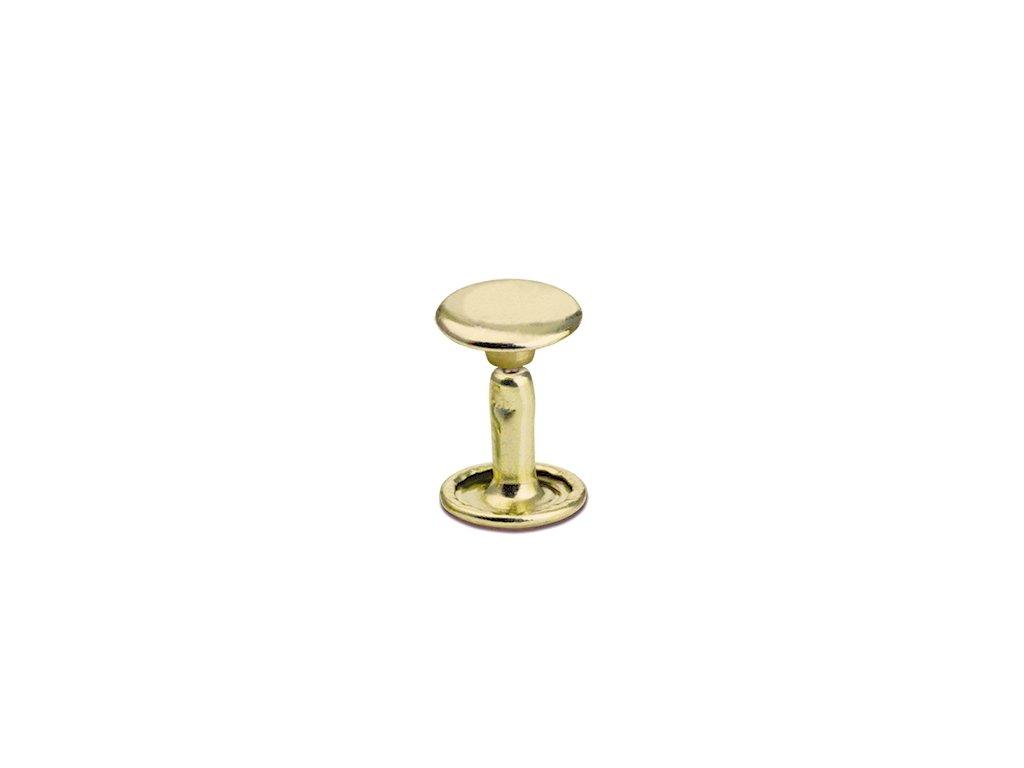 Sedlářské nýty Zavřené z Mosazi 100ks (Velikost Malé - průměr 6 mm, délka 6 mm, Materiál SB - Solid Brass - Mosaz)