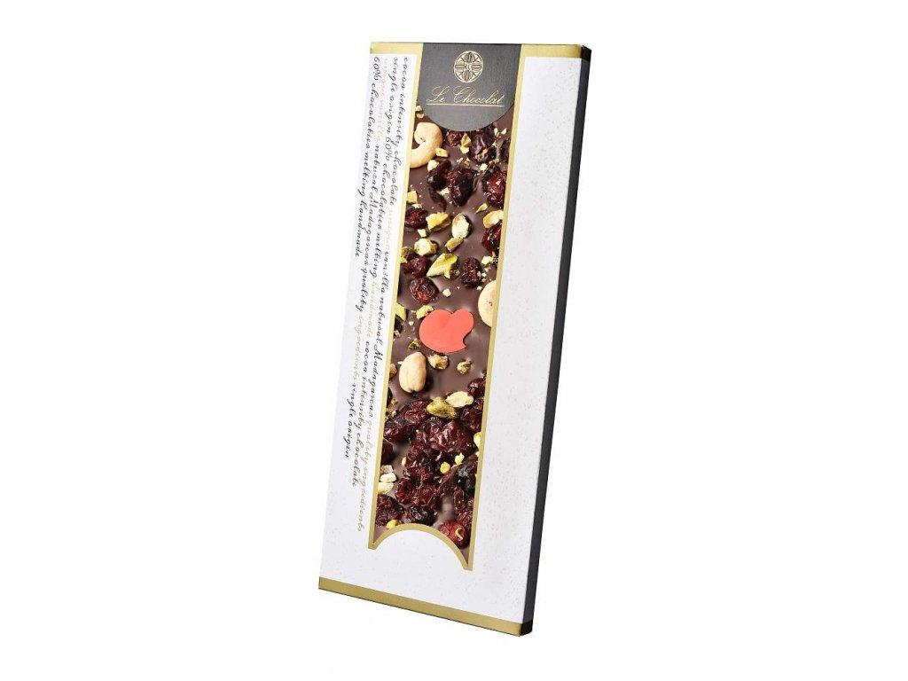 Le Chocolat tmavá čokoláda s oříšky a brusinkami 110g 2