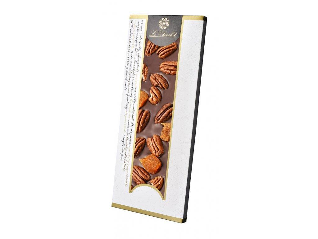 Le Chocolat tmavá čokoláda s pekany a meruňkami 110g 2
