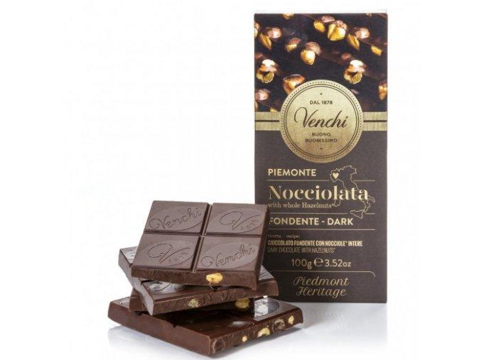 Venchi hořká čokoláda s lískovými oříšky