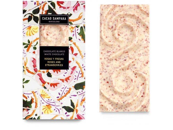 Cacao Sampaka bílá čokoláda růže a jahody 75g