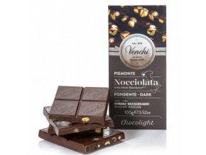 Venchi Cukr free hořká čokoláda s lískovými oříšky