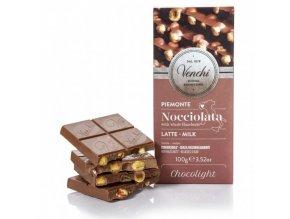 Venchi cukr free mléčná čokoláda s lískovými oříšky