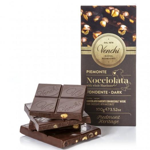 Venchi hořká čokoláda s lískovými oříšky 100g
