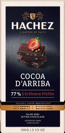 Hachez čokoláda Cocoa d´Arriba jahoda & pepř 77% 100g