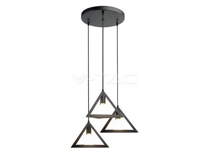 Trio Geometric Black Pendant Light E27 With Black Canopy