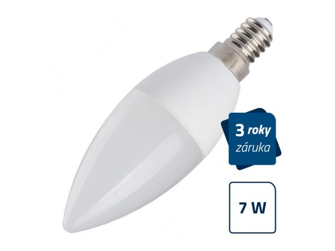 LED žárovka C37, E14, 7W, bílá přírodní GETI