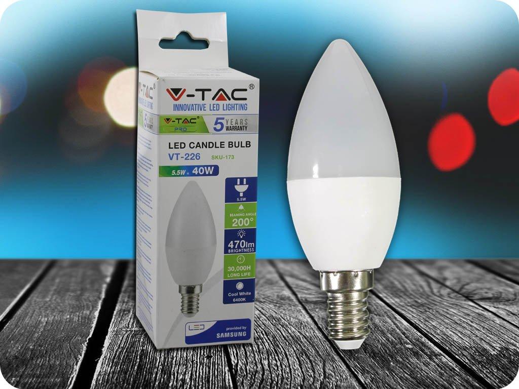 E14 LED ŽÁROVKA 5.5W, SVÍČKA, SAMSUNG CHIP - ZÁRUKA 5 LET! (Barva světla Studená bílá)