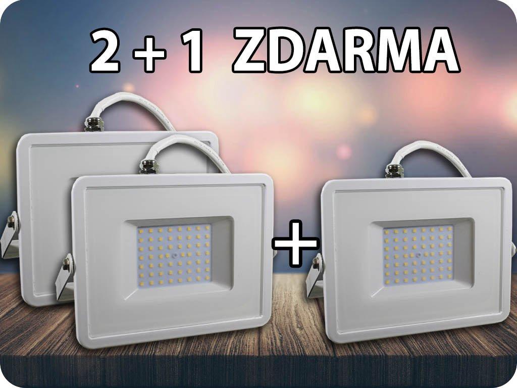 LED REFLEKTOR 50W(4000LM), SAMSUNG CHIP, BÍLÝ, ZÁRUKA 5 LET! 2+1 ZDARMA! (Barva světla Studená bílá)