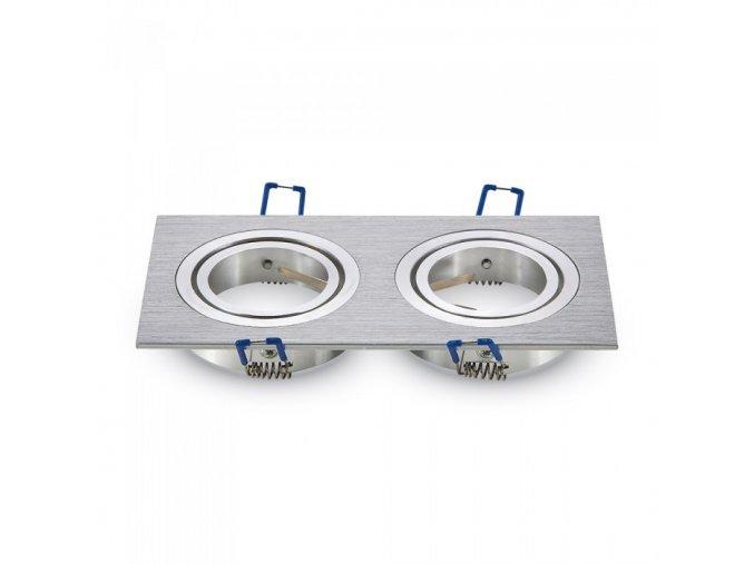 Dvojitý Rámeček Na Bodové Žárovky Gu10, čtvercový, rotačný (Farba rámiku Broušený hliník)