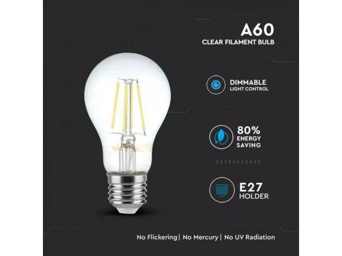 125 3 e27 led retro filament zarovka 4w a60 tepla bila 2700k stmivatelna
