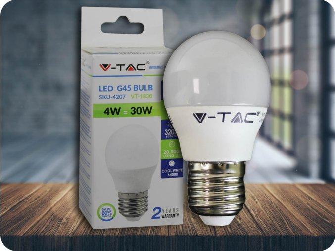 E27 Led Žárovka 4W, G45 (Barva světla Studená bílá)