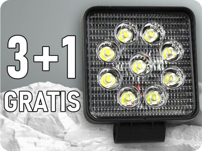 Led Epistar Pracovní Světlo 27W (2200Lm), 9-32V, Ip67, 3+1 ZDARMA!