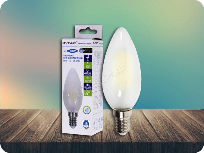E14 Led Retro Filament Žárovka 4W, Svíčka, Kouřový Efekt (Barva světla Studená bílá)