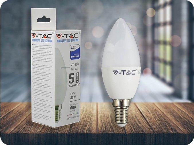 E14 LED žárovka 7W (600Lm), SAMSUNG chip, C37 (Barva světla Studená bílá)