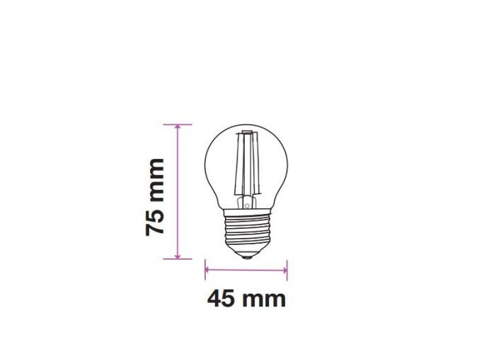 E27 Led Retro Filament Žárovka 4W, G45, Teplá Bílá 2200K