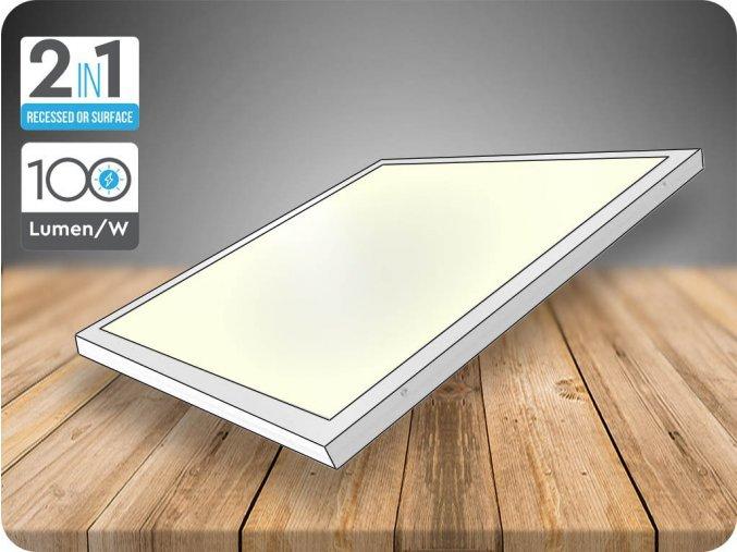 LED přisazený panel s napájecím zdrojem 40W (4000Lm), 595x595 mm, 2v1 (Barva světla Studená bílá)
