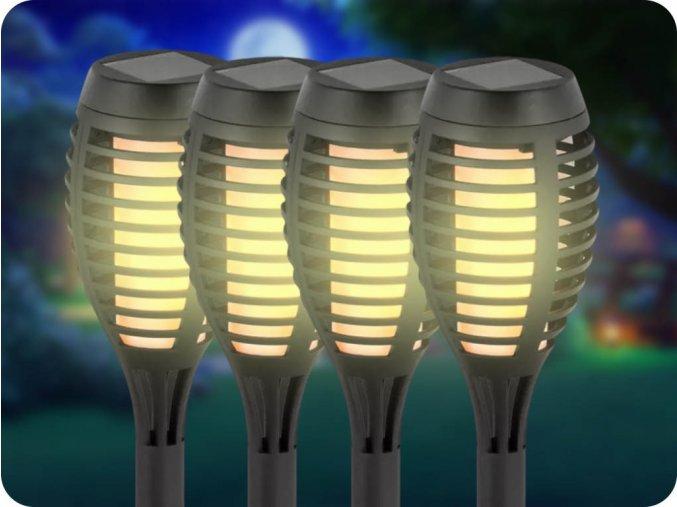 Solární LED zapichovací svítidlo plamen 1W, 2200K, IP44, balení 4ks