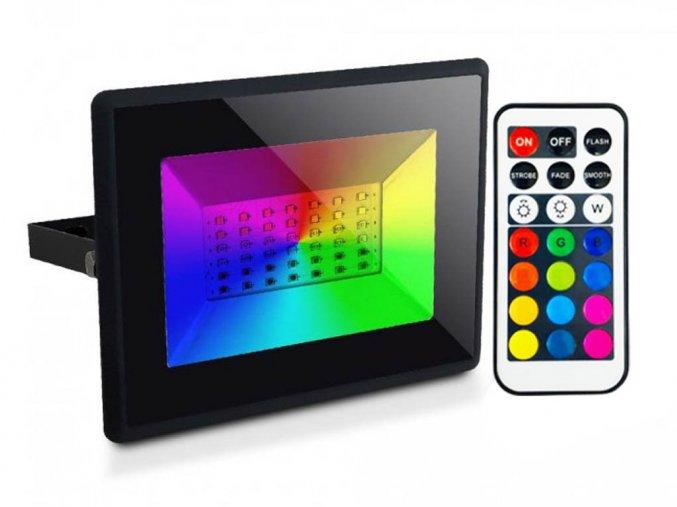 LED reflektor RGB s infračerveným dálkovým ovládáním, 30W, IP65, černý