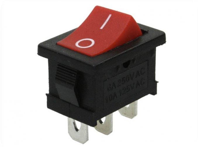Vypínač kolébkový I/O, 6A/250V, červený