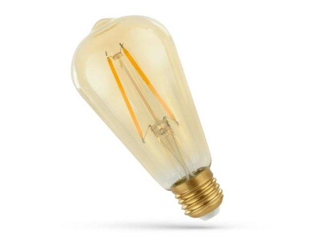 Retro LED žárovka E27, ST64, 2W, 240lm, jantarové sklo, 2400K