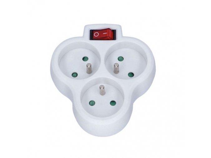 Solight rozbočovač, 3x10A, bílý, vypínač