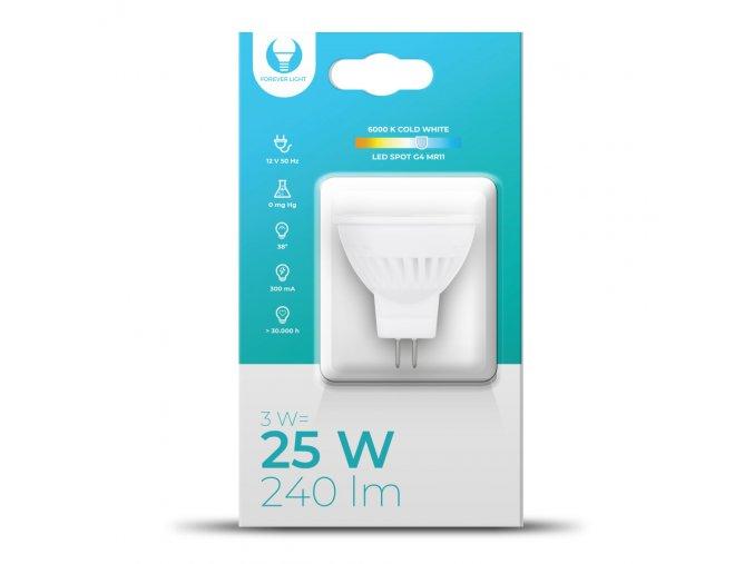 LED žárovka G4, MR11, 3W, 240LM, 12V, 38°, Forever Light