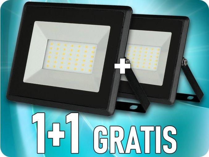 LED REFLEKTOR 30W (2550lm), ČERNÝ, IP65, 1+1 zdarma!