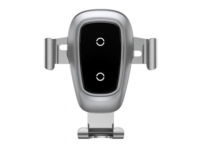 Baseus Držák na mobil Gravity do auta, bezdrátové nabíjení, stříbrný