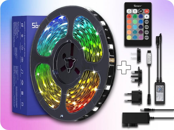 Smart RGB LED pásek L1 Sonoff sada 5m, zdroj, WiFi + IR ovládání, 30LED/m, 300lm/m, 12V, IP65