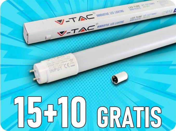 Led Trubice T8, 18W, 1700lm, 120Cm, G13, Nano Plast, 15+10 zdarma!