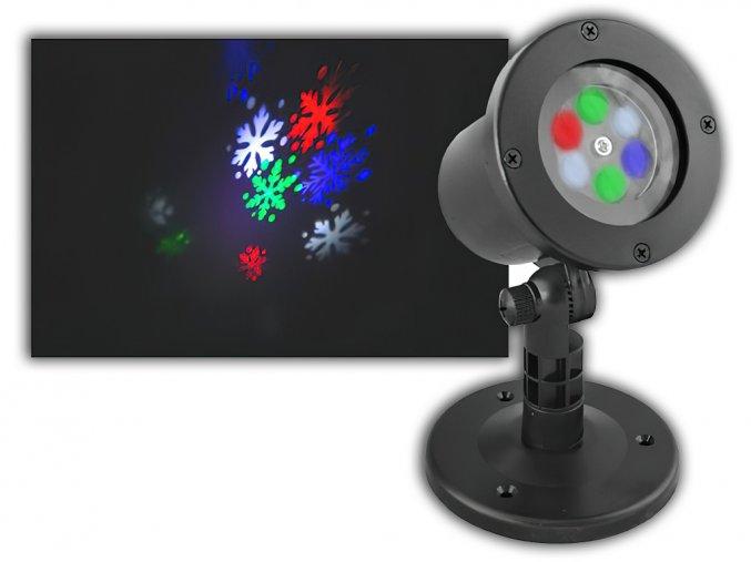 Zahradní projektor LTC LED 4W, IP44, barevné vločky, 2 vyměnitelné stojany