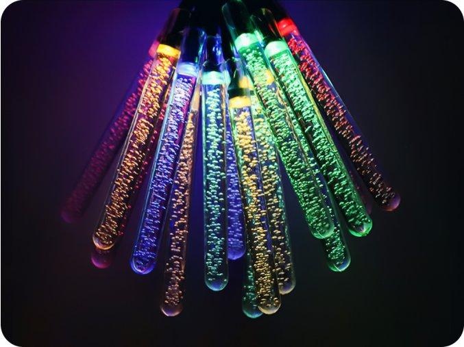 LED solární řetěz BAREVNÉ rampouchy 5.8m, 20xcencúľ, 2 módy, 4 barvy, IP44