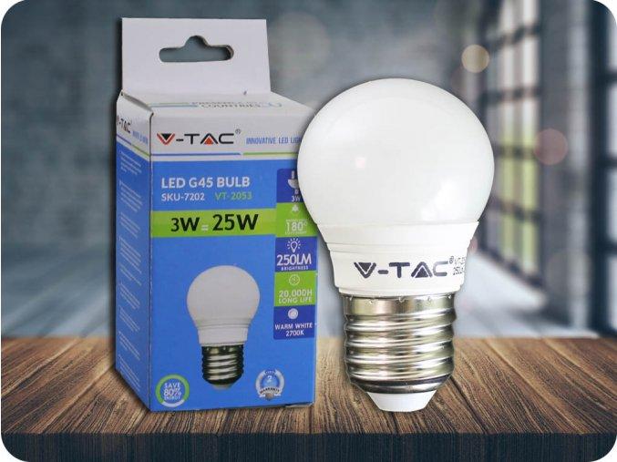 E27 Led Žárovka 3W, G45 (Barva světla Studená bílá)