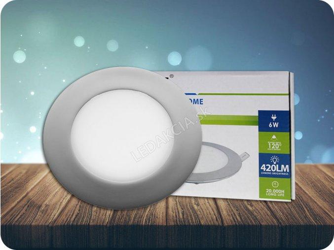 LED vestavěný panel s napájecím zdrojem 6W (420Lm), chromovaný, kulatý (Barva světla Studená bílá)
