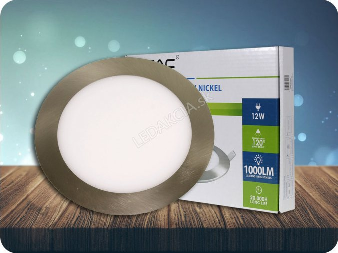 LED vestavěný panel s napájecím zdrojem, 12W (1000lm), saténový nikl, kulatý (Barva světla Studená bílá)