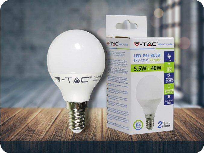 E14 LED ŽÁROVKA 5.5W, P45 (Barva světla Studená bílá)