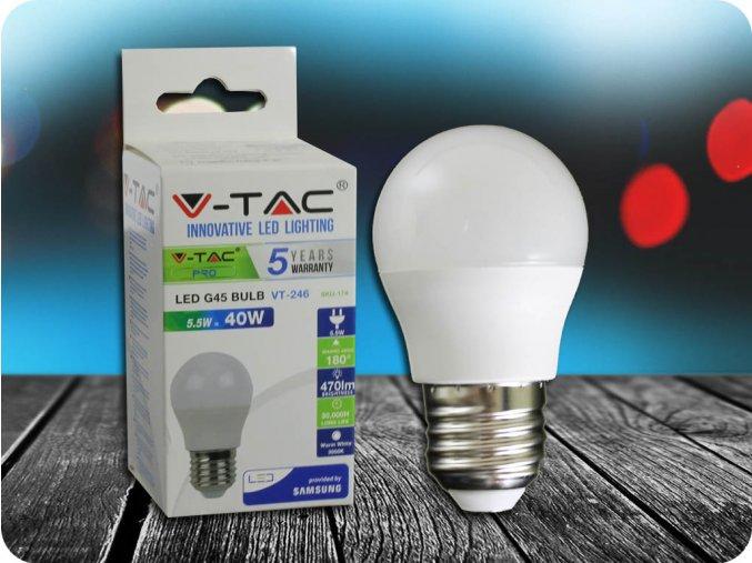 E27 LED ŽÁROVKA 5.5W, G45 - SAMSUNG CHIP - ZÁRUKA 5 LET! (Barva světla Studená bílá)