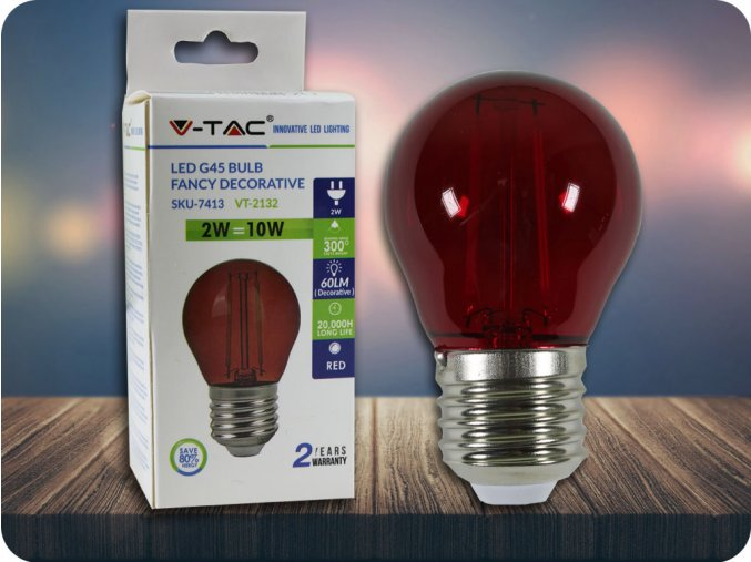 4170 2 e27 led barevna filament zarovka g45 2w 60lm cervena