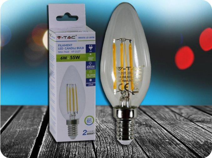 E14 LED RETRO FILAMENT ŽÁROVKA 6W (600LM),  SVÍČKA (Barva světla Studená bílá     6400K)