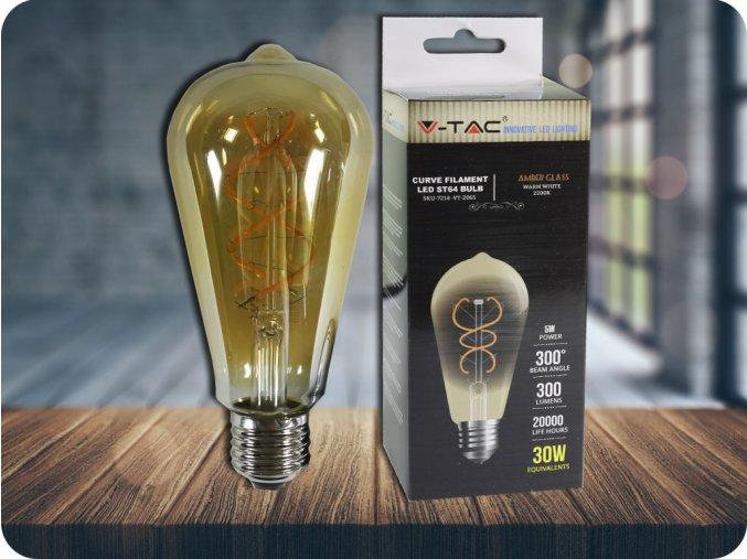 E 27 LED FILAMENT RETRO ŽÁROVKA 5W, ST64 (Barva světla Teplá bílá)