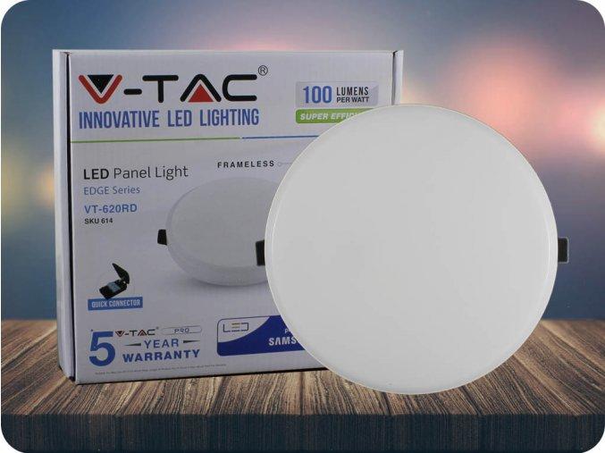 LED bezrámový PANEL, 20W, KULATÝ (2000lm), SAMSUNG CHIP (Barva světla Studená bílá)