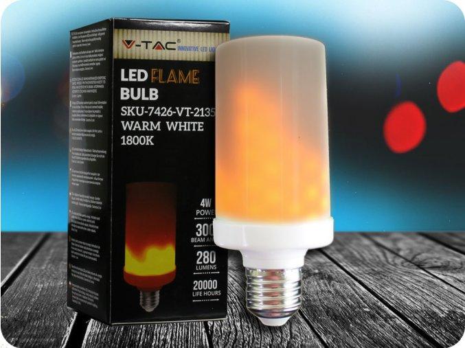 E27 LED ŽÁROVKA, PLAMEN,4W (Barva světla Teplá bílá)
