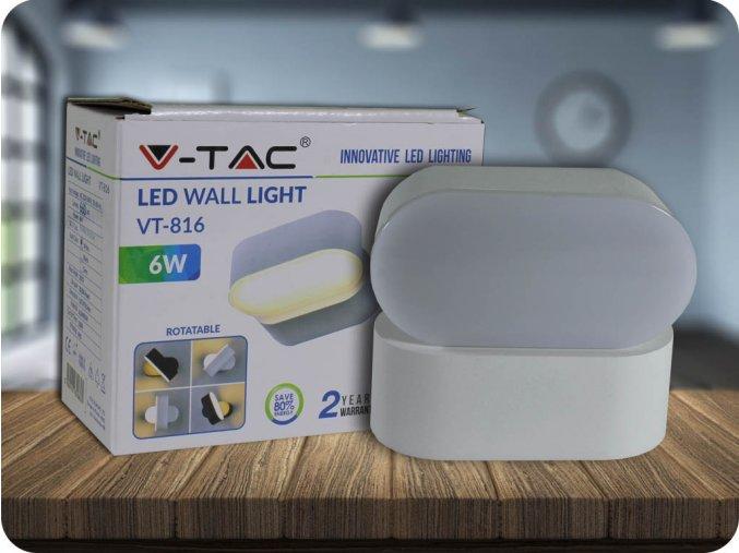 Nástěnné otočné svítidlo, 6W,660lm, bílé (Barva světla Neutrální bílá 4000K)
