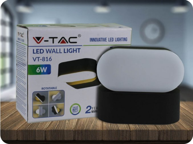 Nástěnné otočné svítidlo, 6W,660lm, černé (Barva světla Teplá bílá)