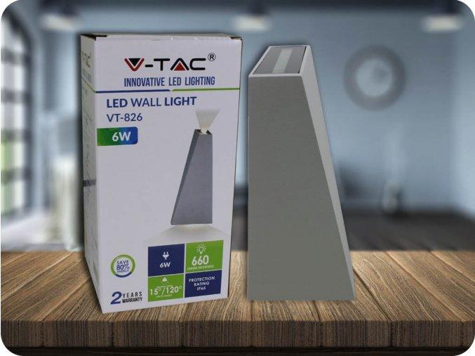 LED Nástěnné svítidlo, 6W (660lm), IP65, šedé (Barva světla Neutrální bílá)