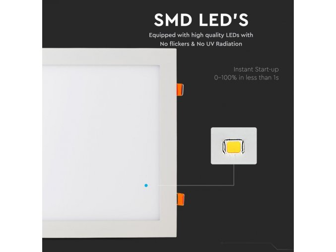 Led Panel 24W, Čtvercový (2000Lm) (Barva světla Studená bílá)