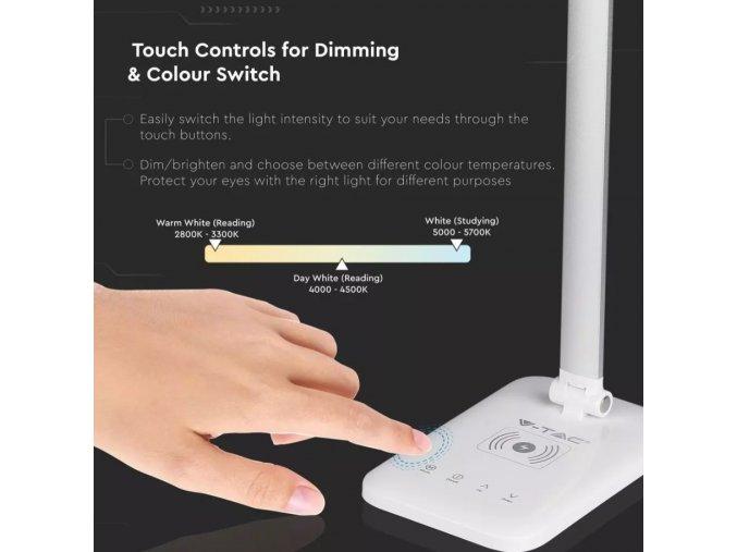 LED stolní lampa 7W (1000Lm), bílá, 3v1